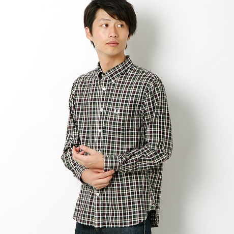 HERRINGBONE LARGE CHECK SHIRT