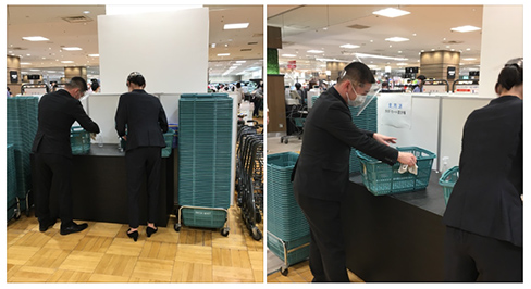 Disinfection of baskets for grocery shopping at Mitsukoshi Ebisu Store.