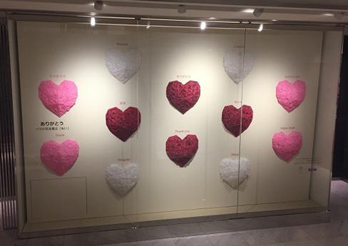 本館3~4階のディスプレイは『ありがとう』がテーマ。バラの花ことばは「あい」ウィンドウからバラの香りがします。