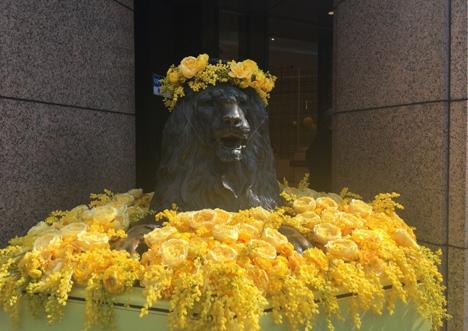 国際女性デーのイメージカラーであるミモザカラーに彩られた期間限定装飾のライオン像