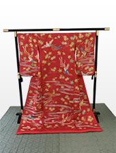 赤綸子紅葉流水尾長鳥刺繍着付歌舞伎衣裳「八重垣姫」