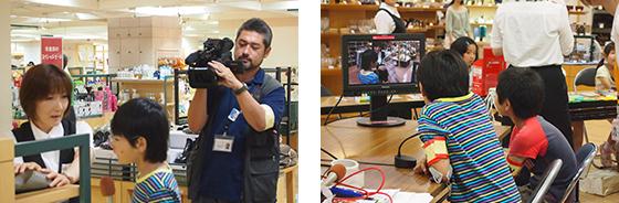 TV局レポーターは販売員さんにインタビュー、その後、カメラチェック