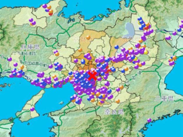 2018/6月大阪北部地震時の震源と協力企業分布マップ