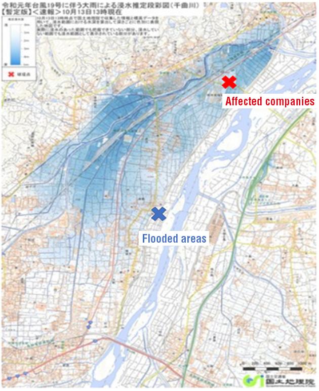 Hazard map and disaster-stricken business partner (in the Chikuma-gawa river basin)