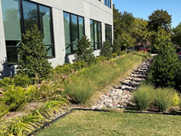 Hensley's Dallas facility:Bioswale
