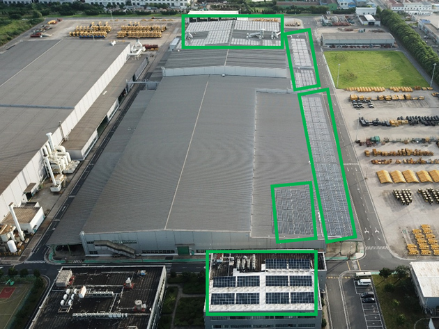Photovoltaic power generation equipment installed on the roof of the KCCM plant in China
