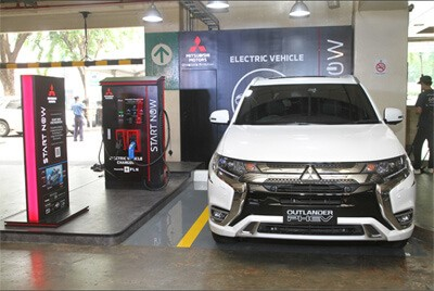 Outlander PHEV when charging stations are installed at luxury shopping malls