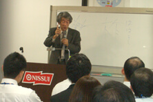 【Pitcure】At the Nissui headquarters, Shigeyasu Hayama talks about planting trees to protect the sea.