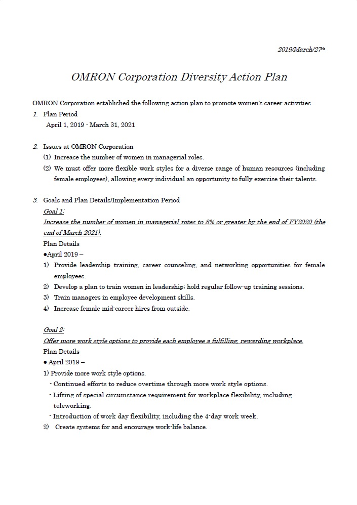 OMRON Corporation Diversity Action Plan