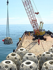 Installing artificial reef balls