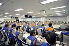 Emergency Response Organization meeting during a comprehensive drill