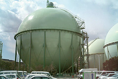 Paintwork on gas holder