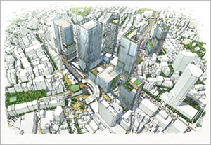 Conceptual image upon completion of the redevelopment project around Shibuya Station