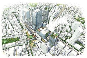 渋谷駅周辺地区の再開発の完成イメージ