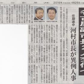 副市長人事関係 中日新聞28.4.25