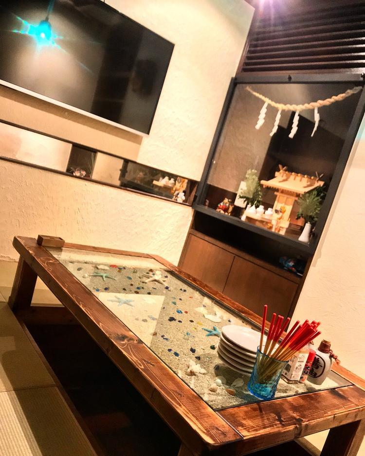 琉球畳の堀こたつの個室でゆっくりと