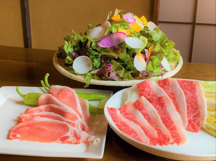 しゃぶしゃぶ(牛肉、豚)と鎌倉野菜