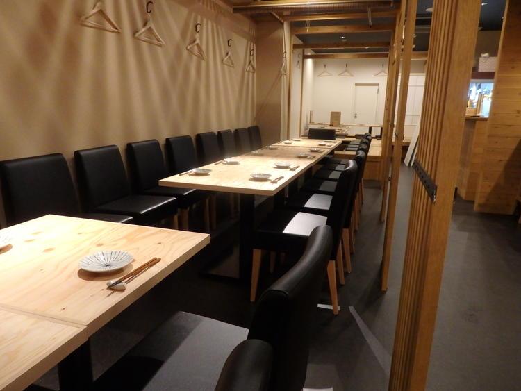 大小個室6部屋全60席のゆとりある店内