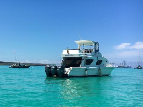 ガラパゴス諸島のスピードボート