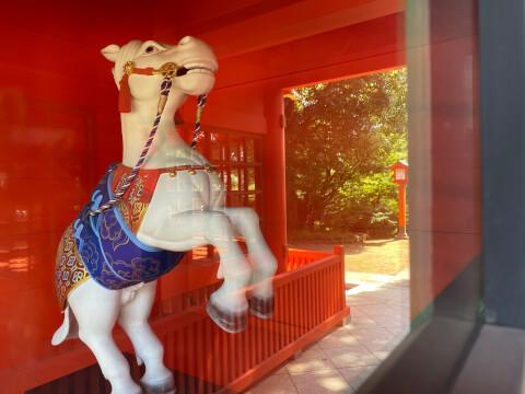 随身門に安置されている馬
