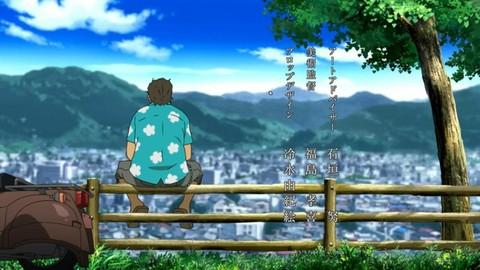 あの花:羊山公園から秩父の風景を眺めるぽっぽ(アニメ)