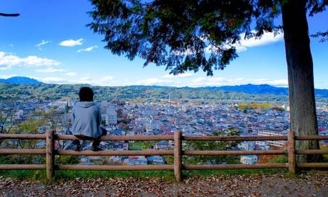 あの花:羊山公園から秩父の風景を眺める(実写)