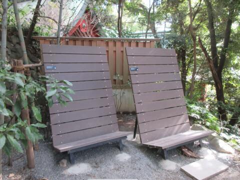 大楠のそばにあるベンチ
