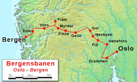 ベルゲン鉄道マップ