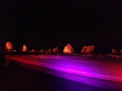 日本 絶景 和歌山 橋杭岩 ライトアップ