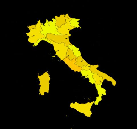 イタリアの20州マップ