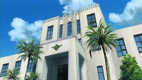 旧豊郷小学校:私立桜が丘女子高等学校の入口(アニメ)