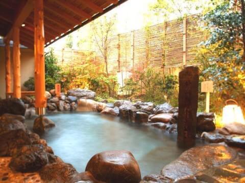 京都 旅館 宿泊 嵐山温泉 花伝抄 お風呂