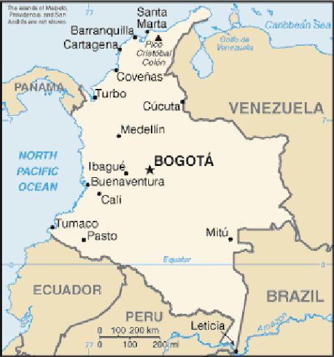 地図 コロンビア