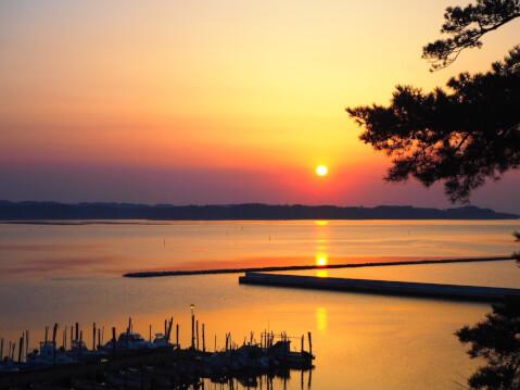 日本 絶景 宮城 松島 日本三景 日の出 朝焼け