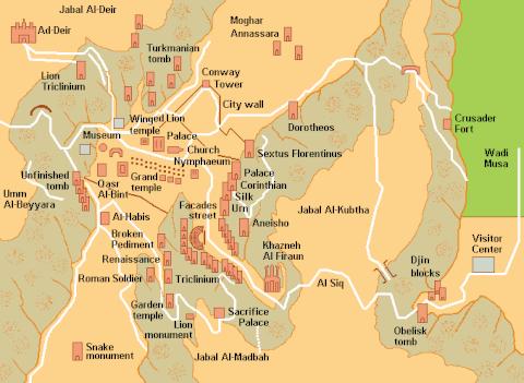 ペトラ遺跡マップ