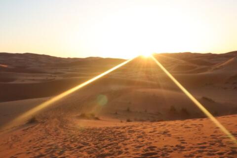 サハラ砂漠の朝日