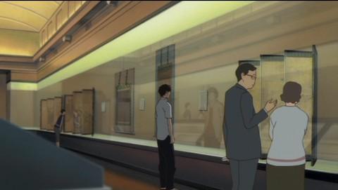 時かけ:東京国立博物館でちあきが絵画を眺めているところ(アニメ)