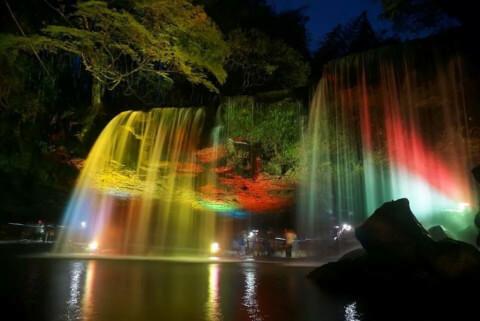 日本 絶景 熊本 鍋ヶ滝 ライトアップ
