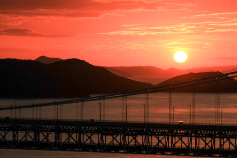 日本 絶景 岡山 鷲羽山 夕陽