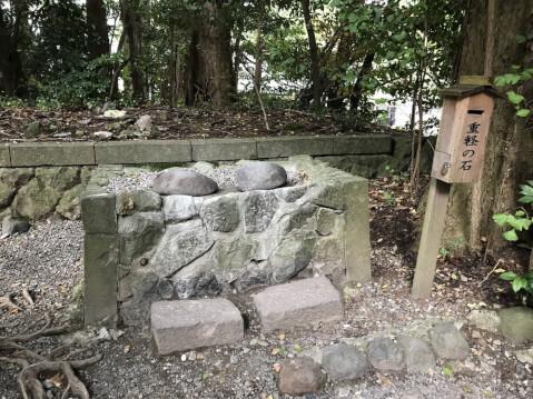 弥彦神社 重かる石