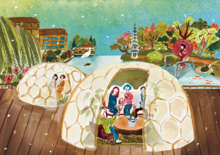 フォーシーズンズホテル京都に、日本庭園を眺めながらシャンパンを楽しむ「ウィンタードーム」が初登場!