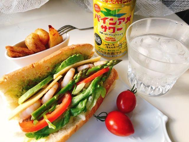 らくらく家呑み♡宅配野菜の手作りサンドとパインアメサワー/TOCOmarche
