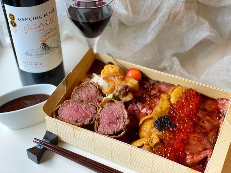 牛ヒレカツうに肉弁当と赤ワイン・ダンシングフレイムで家呑み