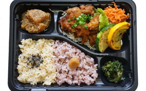 Chinese Fried Soy Meat  with Special Sauce Bento
