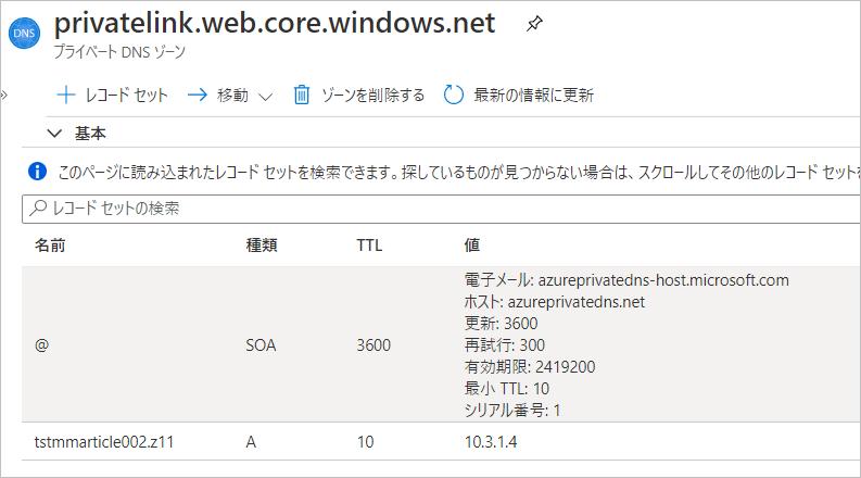 プライベート DNS ゾーンの設定状態 - 設定追加前