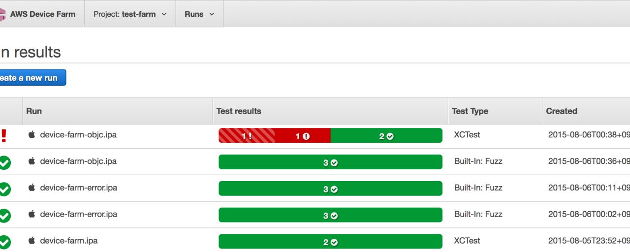 AWS Device FarmがiOSに対応したので使ってみた
