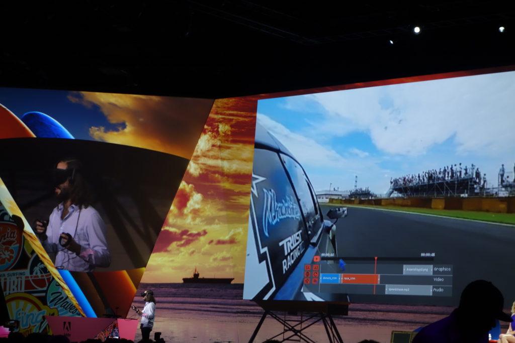 Oculus Rift を被った発表者がその場で映像を編集している