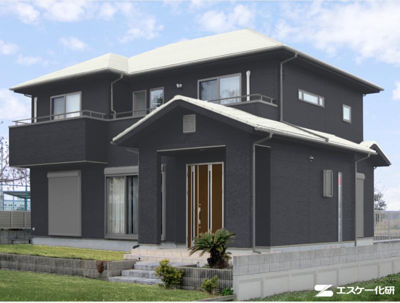 屋根と外壁の色の組み合わせ例_ブラックとアイボリー