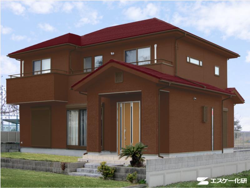 外壁と屋根の色の組み合わせ例_ブラウンとバーガンディ