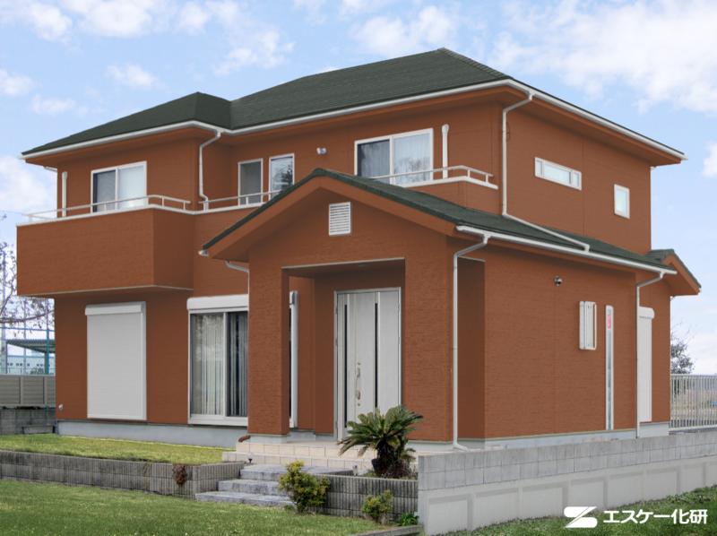 外壁と屋根の色の組み合わせ例_ブラウンとグリーン